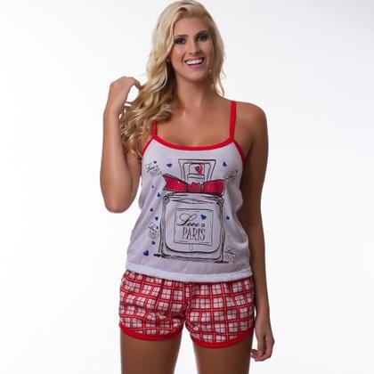 Baby Doll Camiseta e Short Estampadinho | Xadrez