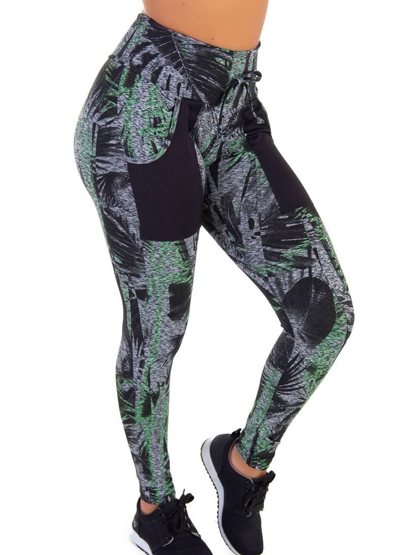 Calça Legging Com Bolso para  Celular   Green Forest 6021