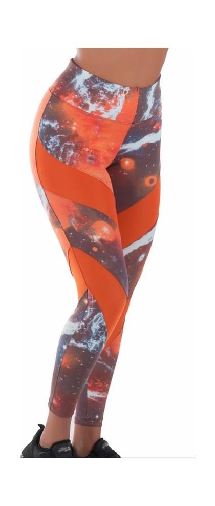 Calça Legging Fitness com recorte e estampa colorida | Hera