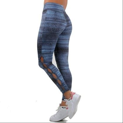 Calça Legging Fitness Estampada com Abertura na Panturrilha | Liz