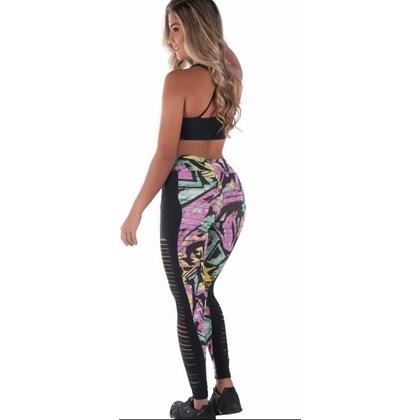Calça Legging fitness Estampada com cortes | lStronger