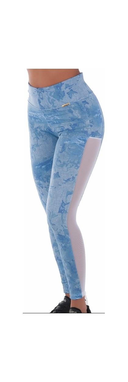Calça Legging Fitness, estampada e telinha lateral  Lnude