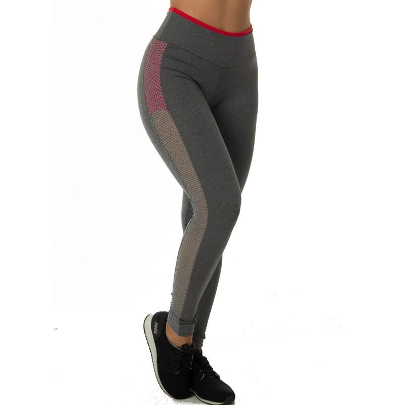 Calça Legging Mescla com Grade Lateral Neon | 4501