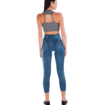 Calça Legging Poliamida Azul Cintilante | New Vision AZ