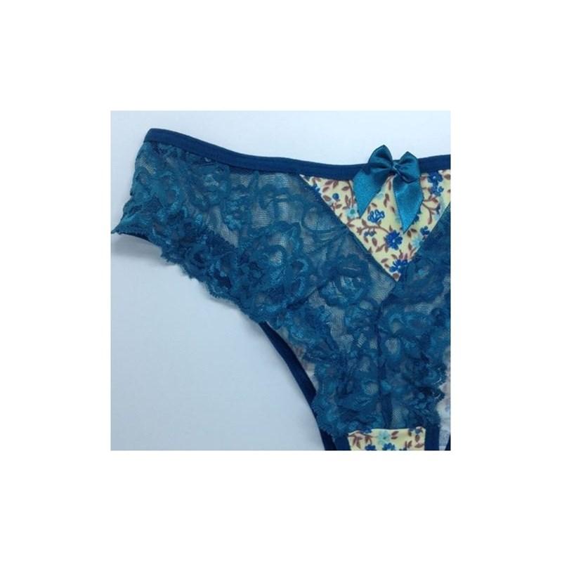 Calcinha Sexy com Renda e detalhe Colorido | Elise 1081