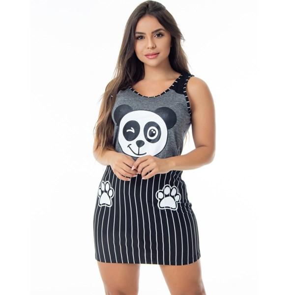 Camisola Longa em Malha Confort   Pijama Panda 2768