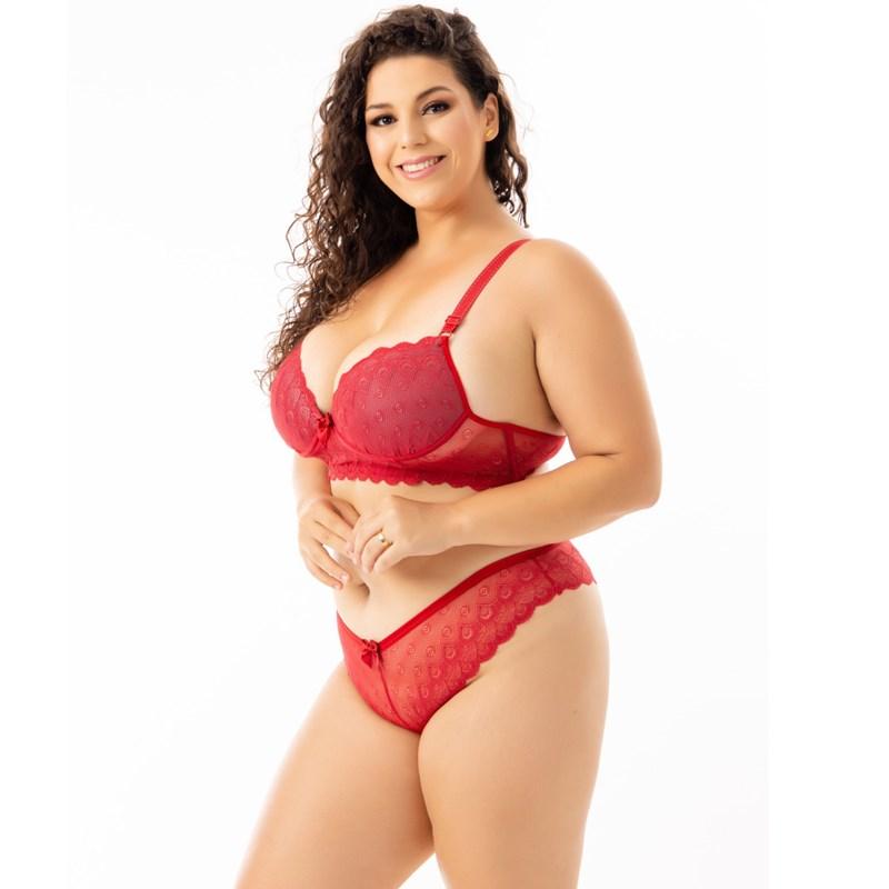 Conjunto de Lingerie Sensual Plus Size com Renda   Zani 6614