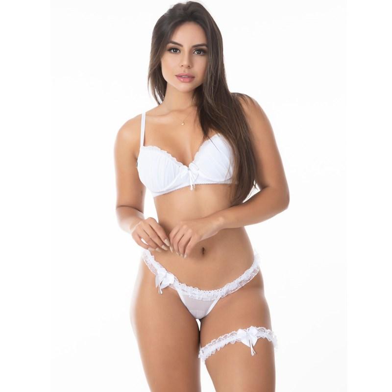 Conjunto Sexy Calcinha de Renda e Perneira | 8000032