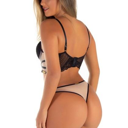 Conjunto Sexy Cropped Detalhe em Tule e Renda | cCarolina