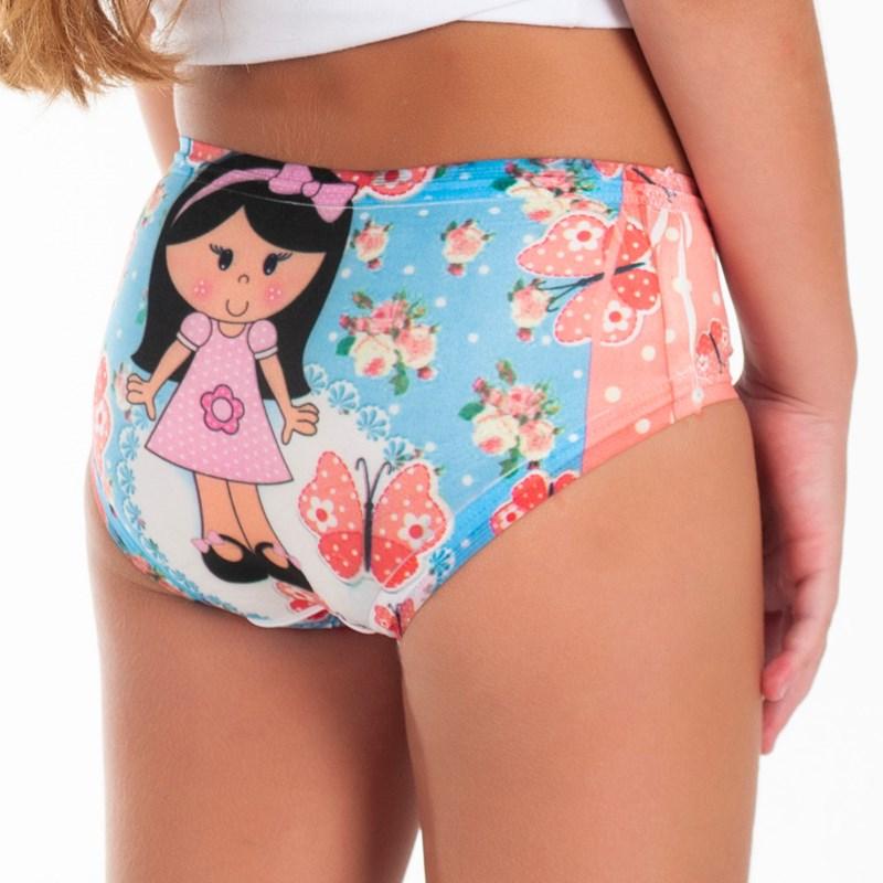 Kit 10 Calcinha Infantil Microfibra Sublimada | Princesas 5138