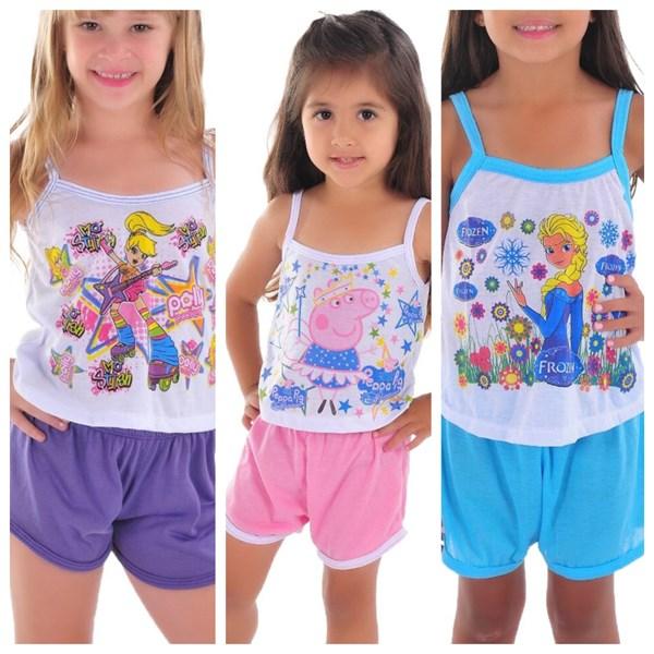 Kit c/ 3 Baby Dolls Infantil Camisetinha   Kit 3 009