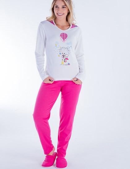 Pijama de Frio Longo em Malha Algodão | Pink 18100