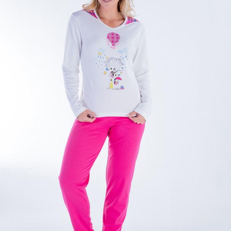 Pijama de Frio Longo em Malha Algodão   Pink 18100