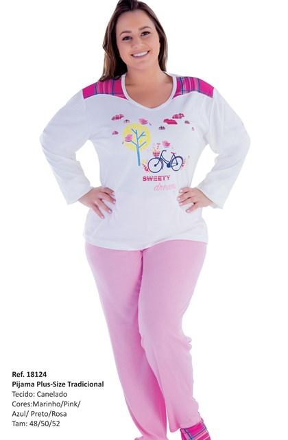 Pijama Feminino Plus Size de Inverno | 18124