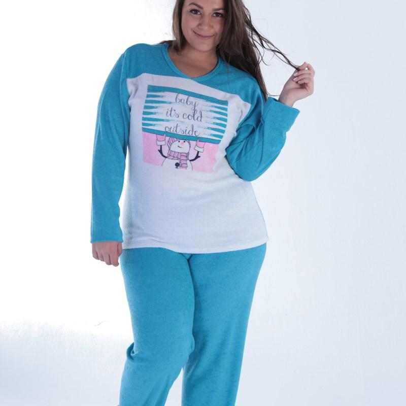 Pijama Feminino Plus Size em Plush   Classic 18125