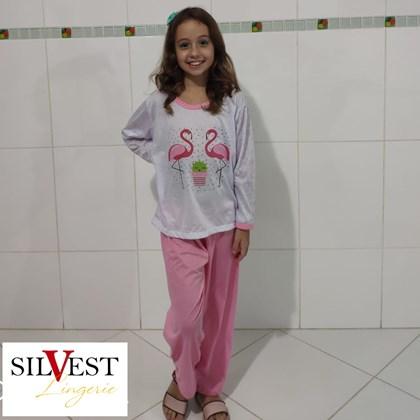 Pijama Infantil Feminino Longo Estampado em Malha | 53