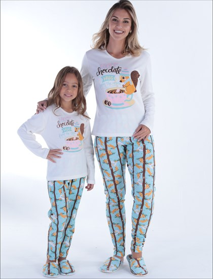 Pijama Infantil Inverno Hot Chocolate | Mãe e Filha 18140