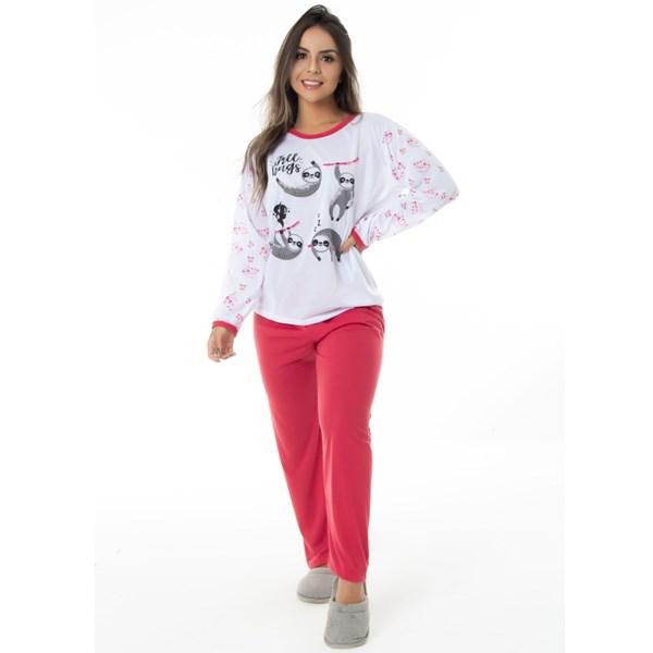 Pijama Manga Longa Feminino em Malha Suave PV   159