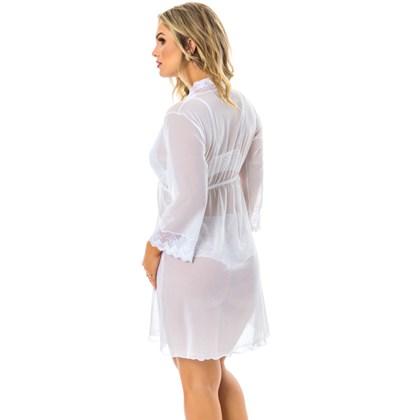Robe Manga Longa em Tule e Renda | Margot 6027