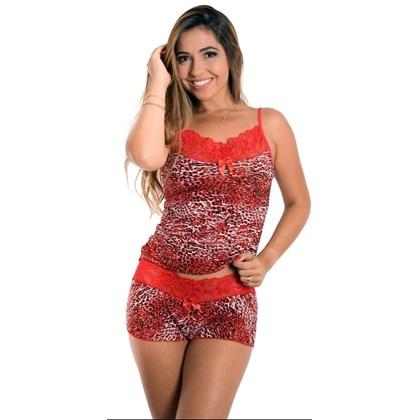 Short Doll Estampado em Liganete com Renda | Anita