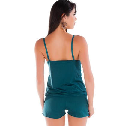 Short Doll Verde Jade em Liganete e Renda   Fran 4134