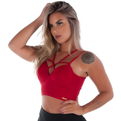 Top Cropped Fitness Strappy Bra   Ariel 1518