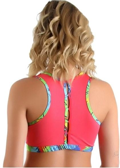 Top Fitness Colorido Reforçado e Nadador  | Liz 1406
